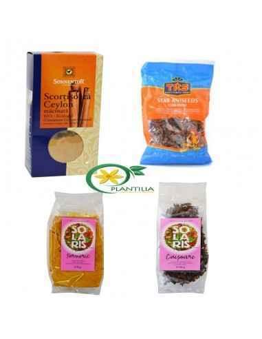 Pachet Super Condimente  Pachetul contine 1 cutie Scortisoara Ceylon Bio Macinata, 1 Punga Anason Stelat 50g Herbavit, 1 punga
