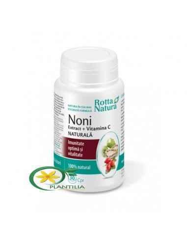 Noni + Vitamina C Naturala 30 cpr Rotta Natura  Produsul reprezintă o combinație a două ingrediente naturale indicate pentru sus