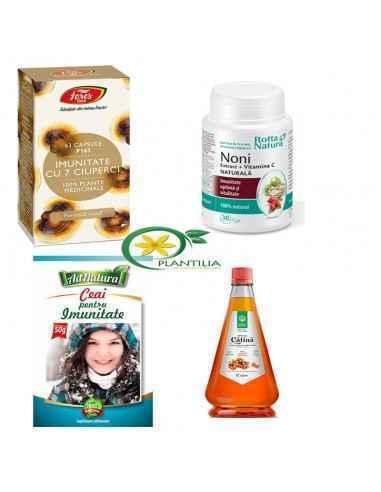 Pachet Imunitate Adulti  Pachetul contine 1 flacon capsule Noni + vitamina C Rotta Natura, 1 flacon capsule Imunitate cu 7 Ciup