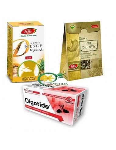 Pachet Digestie Usoara  Pachetul contine 1 flacon Digotide 30cps Farmaclass, 1 flacon Digestie Usoara 30 cps Fares si 1 cutie Ce