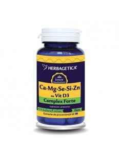 Ca + Mg + Se + Si + Zn cu D3 - Complex Forte 120 capsule Herbagetica