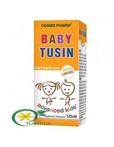Sirop Baby Tusin 125ml CosmoPharm Natural si eficient, cu gust de caramel, Baby Tusin combina proprietatile terapeutice deosebi