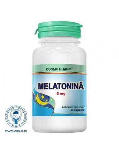 Melatonina 3mg 10 cps CosmoPharm, Melatonina 10 capsule Cosmo Pharm Hormon implicat in reglarea ritmului circadian. Regleaza som