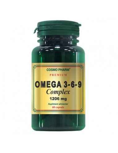 Omega 3-6-9 Complex 60 capsule CosmoPharm Omega 3-6-9 Complex 1206 mg este un produs de exceptie, din gama Premium.Acesta est