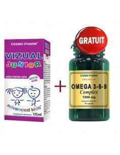 Sirop Vizual Junior 125ml + Omega 3-6-9 Complex 30 cps Gratuit CosmoPharm