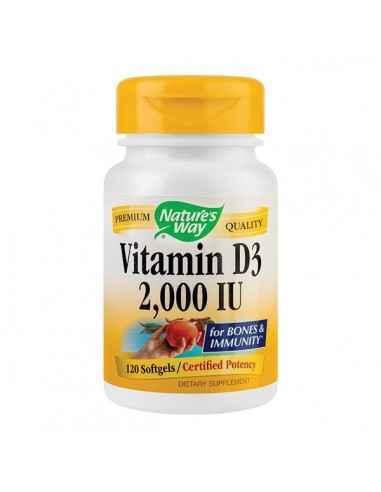 Vitamina D3 2000 UI adulti 30cps Secom Ajuta la functionarea normala a sistemului imunitar si la mentinerea sanatatii sistemelo