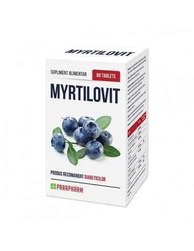 Myrtilovit 60tb - Parapharm Myrtilovit este un supliment alimentar obtinut din fructe de afine si catina, vitamine, oligomineral
