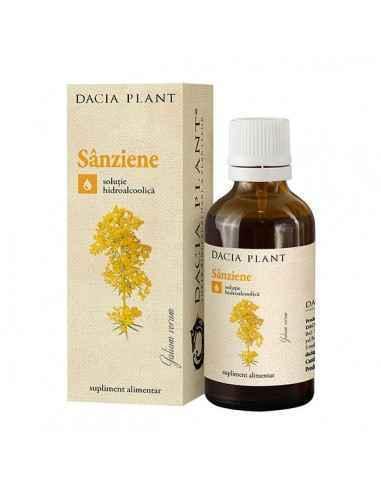 Tinctura sanziene 50ml - Dacia Plant Recomandat pentru hiper şi hipotiroidie, noduli tiroidieni, cistită, litiază urinară, edeme