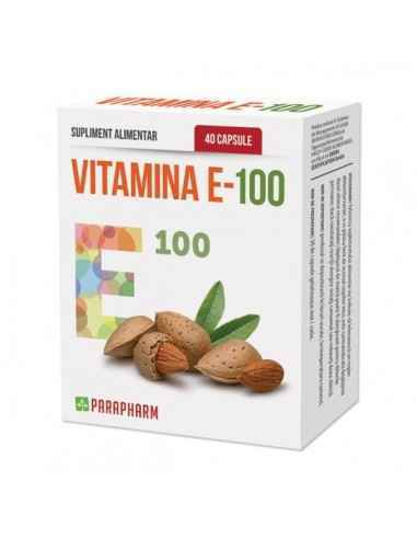 Vitamina E 100 40cps - Parapharm Vitamina E face parte din categoria vitaminelor liposolubile si se gaseste in substante natural