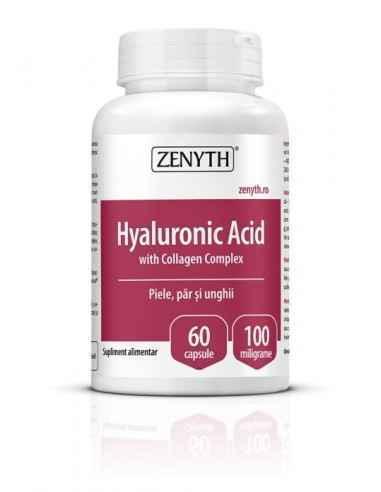Hyaluronic Acid With Collagen Complex 60cps - Zenyth Susține frumusețea pielii, regenerarea părului și unghiilor. Hyaluronic Ac