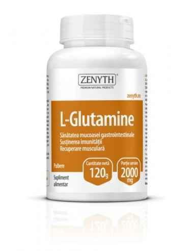 L-Glutamine 120gr - Zenyth Alcalinizant și antioxidant, 100% vegetal. Un produs pentru sănătatea gastrointestinală, susținerea i
