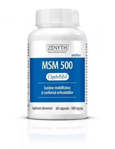 MSM 500 60cps - Zenyth Un produs pentru susținerea mobilității și confortul articulațiilor. Metilsulfonilmetanul (MSM) are efect