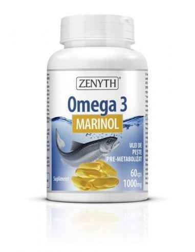 Omega 3 Marinol 60cps - Zenyth Susține sănătatea ochilor și a sistemelor nervos și cardiovascular. Omega 3 Marinol este obținut
