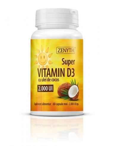 Super Vitamina D3 2000UI 60CPS - Zenyth Bucură-te de Vitamina Soarelui în fiecare zi. Sunt necesare aproximativ 20 de minute de