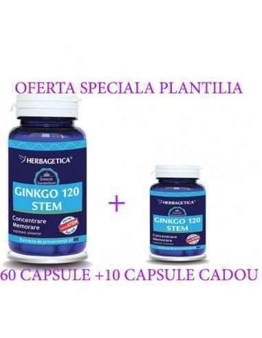GINKGO 120 STEM 60+10 capsule CADOU Herbagetica, GINKGO 120 STEM 60 +10capsule CADOUHerbagetica Ginkgo Stem combină cea mai i