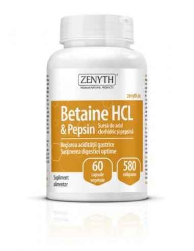 Betain HCI & Pepsin 60cps - Zenyth Sursă de acid clorhidric și pepsină. Supliment alimentar pentru combaterea hipoacidității