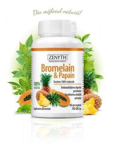 Bromelain&Papain 60cps - Zenyth Supliment alimentar pentru susținerea digestiei proteinelor și sănătatea articulațiilor. Sup