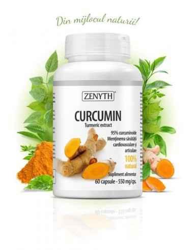 Curcumin 60cps - Zenyth Extract standardizat de turmeric, menține sănătatea cardiovasculară și articulară. Supliment alimentar 1