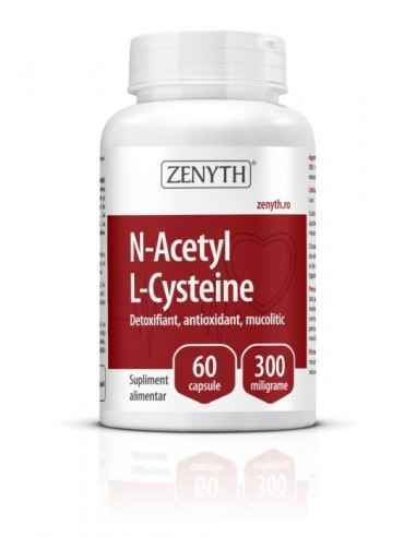 N-Acetyl L-Cysteine 60cps - Zenyth Detoxifiant, antioxidant, mucolitic. Supliment alimentar recomandat ca detoxifiant, antioxid