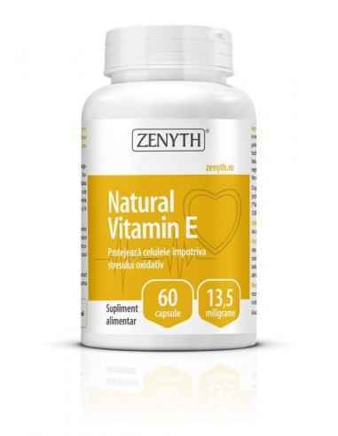 Natural Vitamin E 60cps - Zenyth Protejează celulele împotriva stresului oxidativ. Supliment alimentar 100% natural, recomandat