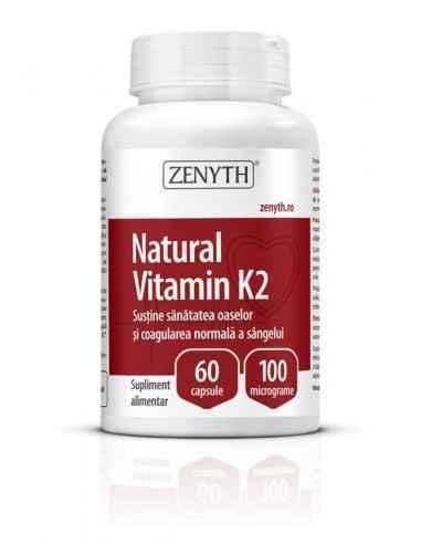 Natural Vitamin K2 60cps - Zenyth Susține sănătatea oaselor și coagularea normală a sângelui. Supliment alimentar 100% natural,