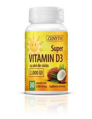 Super VITAMIN D3 – 2000 UI 30cps - Zenyth Bucură-te de Vitamina Soarelui în fiecare zi. 75% dintre adulți suferă de deficiență d