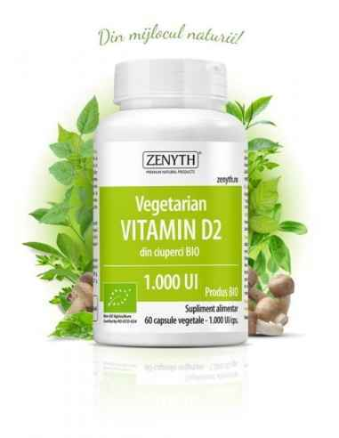 Vegetarian Vitamin D2 60cps - Zenyth Supliment alimentar organic, 100% natural, 100% vegetal. Vitamina D contribuie la absorbția