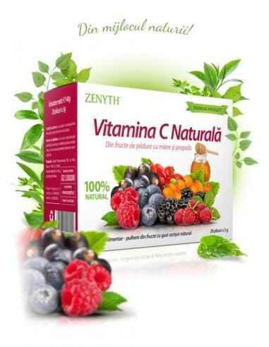 Vitamina C Naturala 28 plicuri - Zenyth Pudră din fructe de pădure, cu miere și propolis, 100% natural. Vitamina C Naturală se a