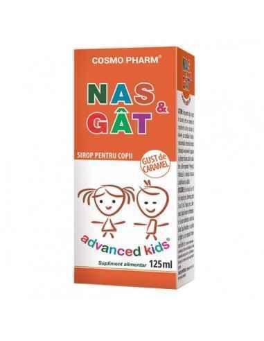 ADVANCED KIDS SIROP NAS&GAT 125ML - Cosmopharm Elibereaza tractul respirator de secretiile neplacute. Calmeaza mucoasa cavi