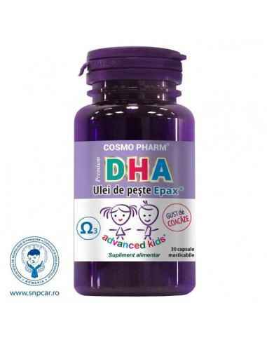 DHA PREMIUM 30CPS MASTICABILE - Cosmopharm Dezvolta inteligenta copiilor. Fortifica imunitatea. Rol vital in sarcina si dupa.