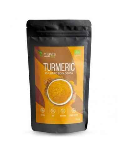 TURMERIC PULBERE ECOLOGICA(BIO) 125GR - Niavis Turmericul (Curcuma) este un condiment extras din radacina plantei de Curcuma lon