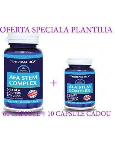 Afa Stem Complex60+10 cps CADOUHerbagetica AFA STEM COMPLEX conţine 3 alge verzi-albastre (Alga AFA, Spirulina şi Chlorella) c