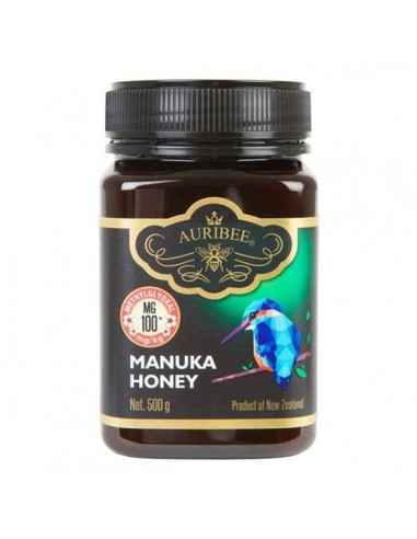 Miere Manuka MG100+ 500GR Auribee  Mierea de manuka este mierea creata din extrasul florilor de Manuka. Manuka face parte din fa