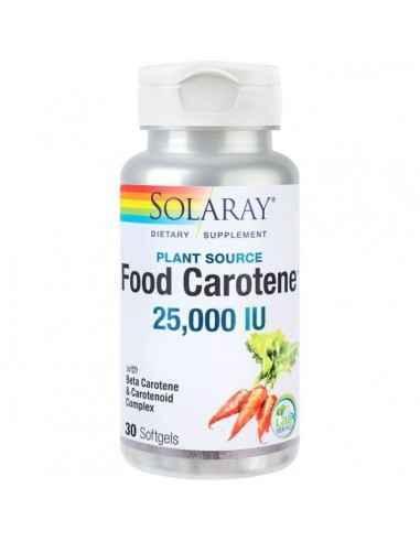 FOOD CAROTENE 25000UI 30CPS - Secom Contribuie la reducerea deficitului de vitamina A, care contribuie la mentinerea vederii nor