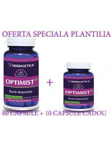 Optimist+ 60+10 cps CADOUHerbagetica Antidepresiv, induce starea de bine, crește calitatea somnului.Optimist+ contribuie la: î