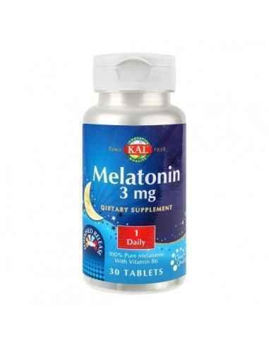 MELATONIN 3MG 30CPR - Secom Contine melatonina, neurohormon cu rol in atenuarea tulburarilor de somn.