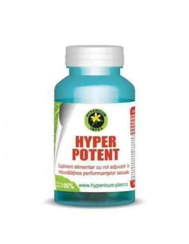 Hyper Potent 60 cps Hypericum  Acțiune afrodiziacă, imunostimulantă, vitaminizantă, mineralizantă, energizantă, detoxifiantă și