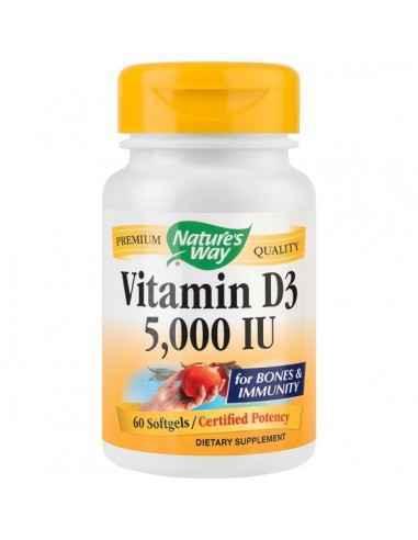 VITAMIN D3 5000UI 60CPS - Secom Formula ce contine Vitamina D3 din sursa naturala, suport pentru functionarea normala a sistemul