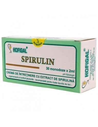 CREMA SPIRULIN 30MONODOZE - Hofigal SPIRULIN Este o cremă de întreţinere si regenerare cu extract total de SPIRULINA PLATENSIS v