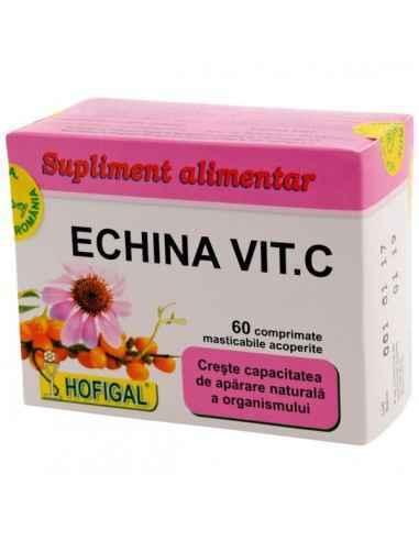 ECHINA VIT C 60CPR - Hofigal Asigura un aport bogat de fitonutrienti necesar in mentinerea functionarii normale a sistemului imu