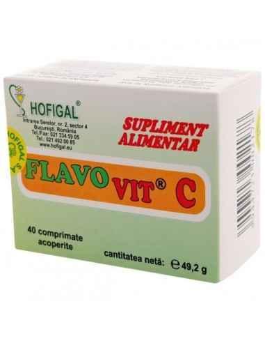 FLAVO VIT C ADULTI 40 CPR - Hofigal Produs usor asimilabil,cu proprietati tonifiante, vitaminizante, de remineralizare a organis