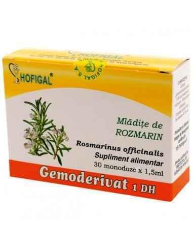 GEMODERIVAT ROSMARIN 30MONODOZE - Hofigal Actiune benefica asupra ficatului, cailor biliare, glandelor suprarenale, metabolismul