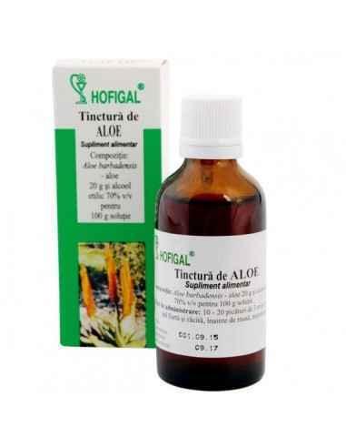 TINCTURA ALOE 50ML - Hofigal Tinctura de aloe are proprietati puternic purgative, detoxifiante, hipocolesterolemiante.