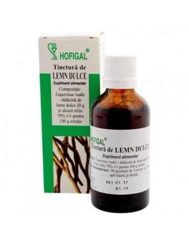 TINCTURA LEMN DULCE 50ML - Hofigal Tinctura de lemn dulce are proprietati imunostimulatoare, expectorante si mucolitice; este us