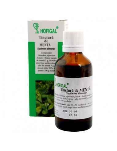 TINCTURA MENTA 50ML - Hofigal Tinctura de menta asigura un aport bogat de nutrienti si substante bioactive necesar dietei pentru