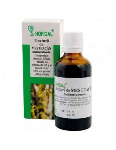 TINCTURA MESTEACAN 50ML - Hofigal Tinctura de mesteacan are proprietati diuretice (cu eliminare de acid uric, cloruri si uree),
