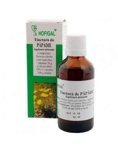 TINCTURA PAPADIE 50ML - Hofigal Asigura un aport de fitonutrienti necesari in suplimentarea dietei pentru imbunatatirea functiil