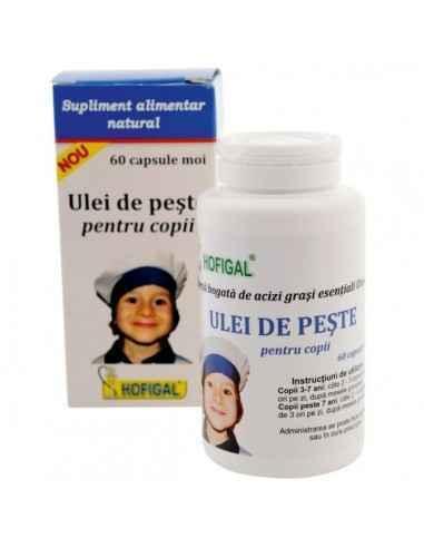 ULEI DE PESTE PENTRU COPII 60CPS MOI - Hofigal Sursa bogata de acizi grasi esentiali Omega.