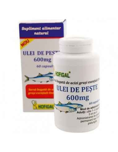 ULEI PESTE 600MG 60CPS MOI - Hofigal Uleiul de peste, supliment alimentar usor resorbabil contine acizi grasi esentiali Omega, l