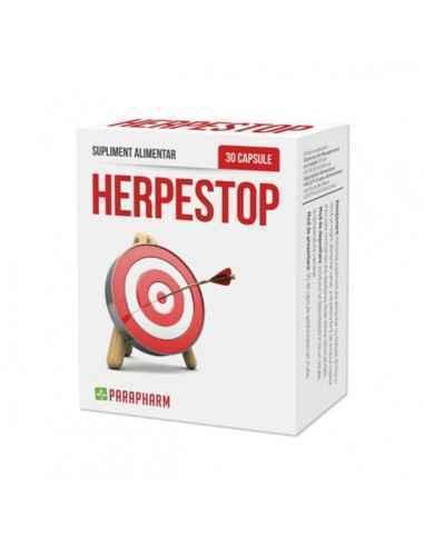 Herpes Stop, 30cp - Parapharm Suplimentul alimentar HERPESTOP este destinat persoanelor care sufera de aparitia periodica a unor